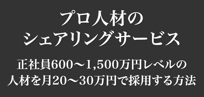 プロ人材のシェアリングサービス〜正社員600〜1,500万円レベルの人材を月20〜30万円で採用する方法〜