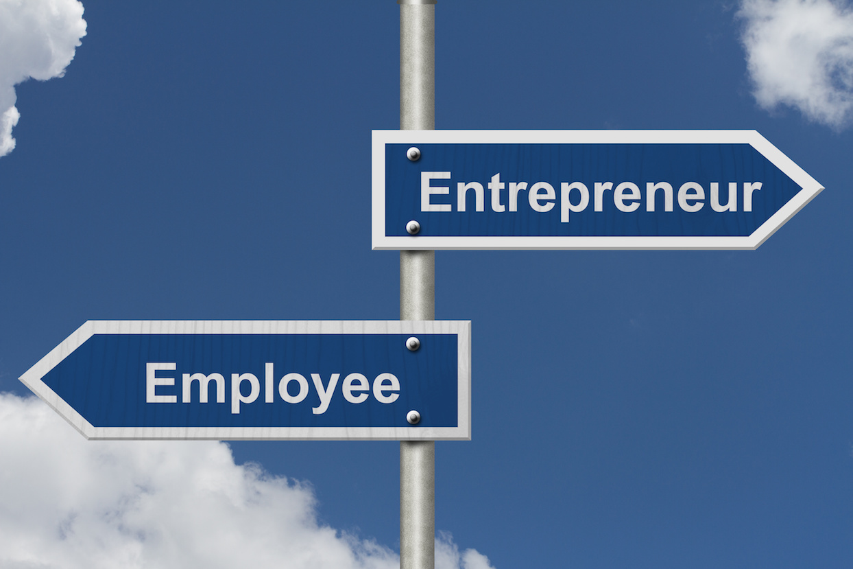 Difference between being an Entrepreneur or an Employee, Two Blue Road Sign with text Entrepreneur and Employee with sky background