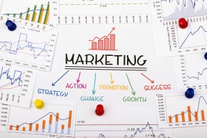 marketing concept with financial graph and chart